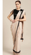Light Beige Saree With Black Tassel Border